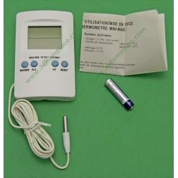 Thermomètre sonde 2 afficheurs min/max