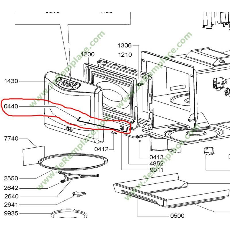Charni re de porte de four micro ondes 481241778145 whirlpool - Demontage porte four whirlpool ...