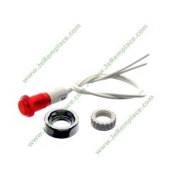 Kit lampe 220 Volts ronde rouge Ø 10mm ronde avec écrou chromé à bague filetée