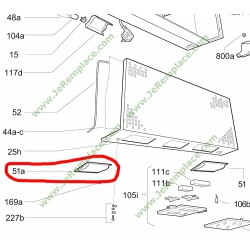 49001415 cache lampe gauche pour hotte