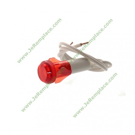 Voyant lumineux rouge pour table de cuisson avec fils diamètre 10mm 220 Volts - Fil 20cm