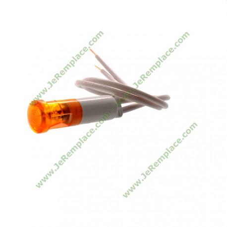 Voyant lumineux orange pour table de cuisson avec fils diamètre 9mm 220 Volts - Fil 20cm