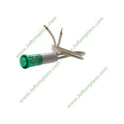 Voyant lumineux vert pour table de cuisson avec fils diamètre 9mm 220 Volts - Fil 20cm