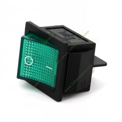Interrupteur bipolaire vert 27,3 X 24,9 mm 4 cosses
