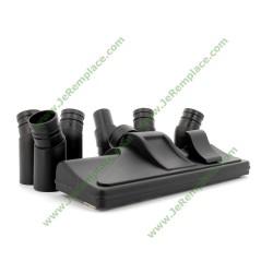 Kit brosse rectangulaire universelle noir avec roue et 7 raccord d'adaptation