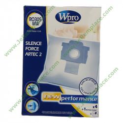 Boites de 4 sacs à poussière en microfibre RO305-MW pour aspirateur