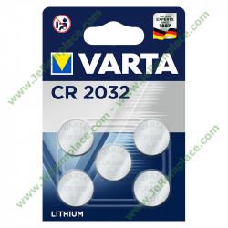 Pack de 5 Piles LITHIUM CR2032 varta
