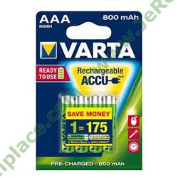 Lot de 4 piles AAA Ni-mh 800mah 1.2v rechargeable VARTA battery