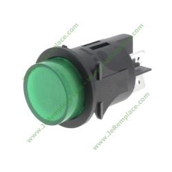 interrupteur vert bipolaire rond et lumineux 24mm de diamètre