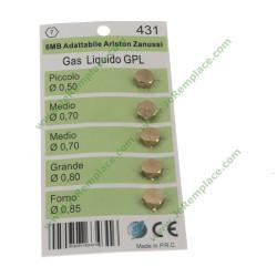 5 injecteurs gaz naturel 6mm adaptable Zanussi - Ariston