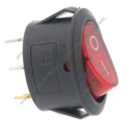 interrupteur lumineux ovale rouge à 3 cosses