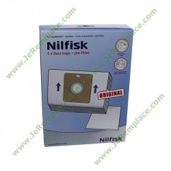 5 sacs avec 1 filtre 30050002 pour aspirateur Nilfisk Original