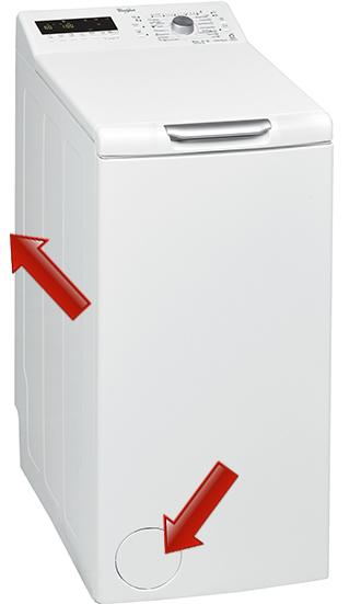 Étiquette signalétique sur le dessus du lave linge à chargement par le dessus