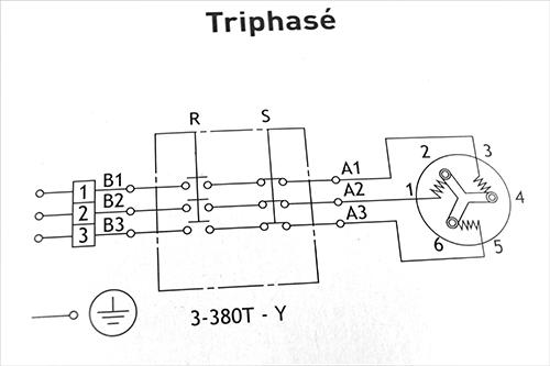 Chauffe eau - schéma de branchement en étoile de résistance et thermostat triphasé 380/400 Volts