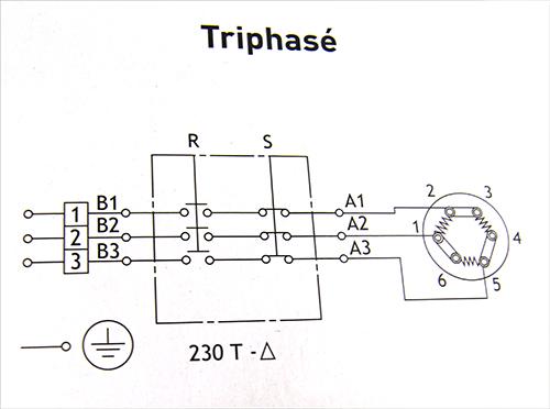 Chauffe eau - schéma de branchement en triangle de résistance et thermostat triphasé 220/230 Volts